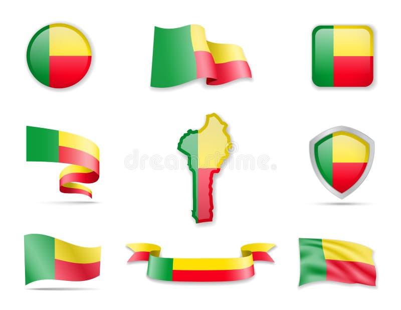 Coleção das bandeiras de Benin A ilustra ilustração royalty free