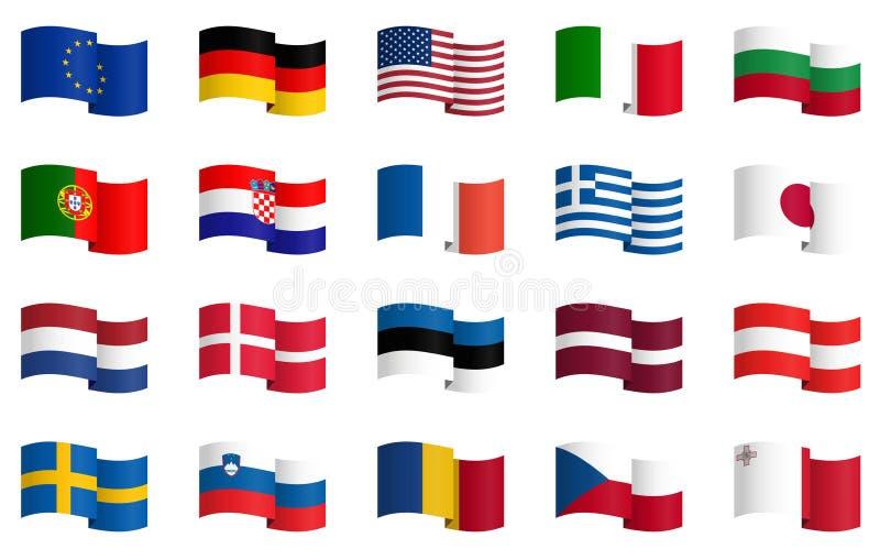 Coleção das bandeiras de país 2 ilustração do vetor