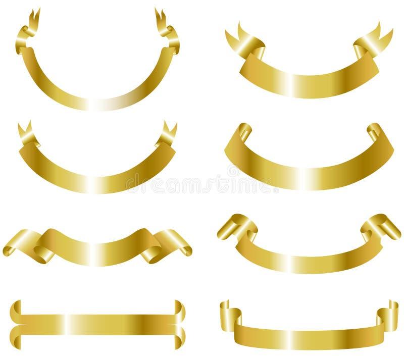 Coleção das bandeiras do ouro ilustração stock