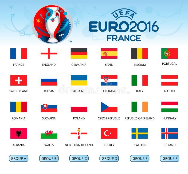 Coleção das bandeiras dos países Participantes do EURO 2016 ilustração royalty free