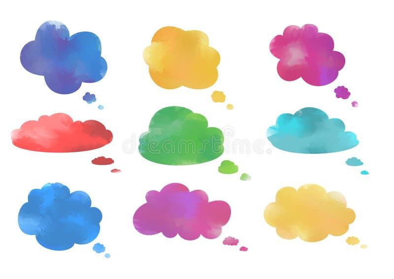 Coleção das bolhas do discurso da nuvem da aquarela ilustração do vetor