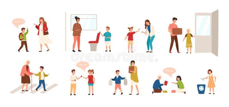 Coleção das bons crianças isoladas no fundo branco Ajuste das crianças que demonstram boas maneiras - estar aberto ilustração do vetor