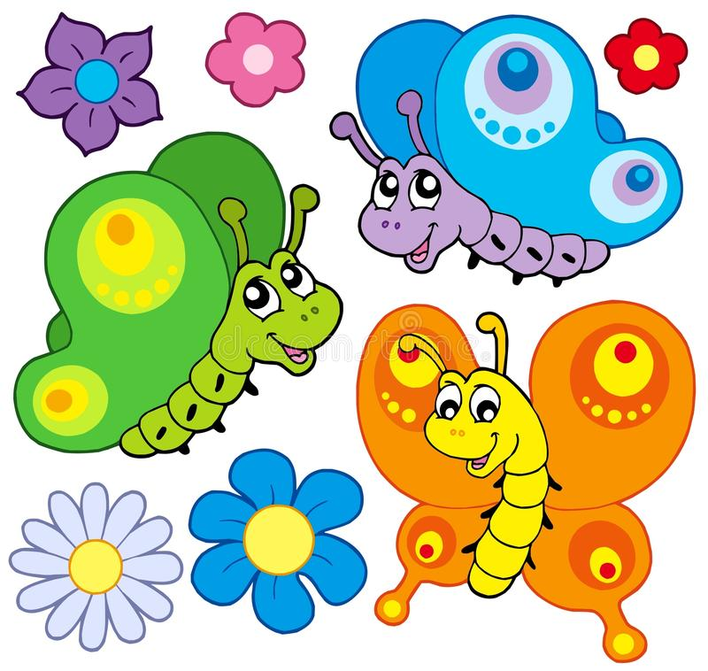 Coleção das borboletas dos desenhos animados ilustração stock