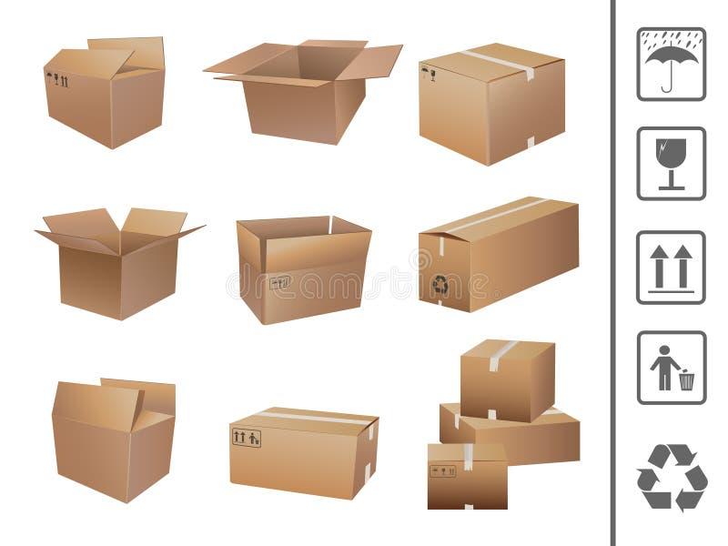Coleção das caixas de transporte ilustração do vetor