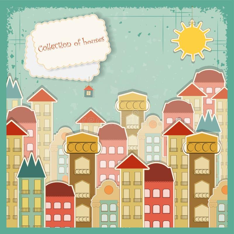Coleção das casas no fundo do vintage ilustração stock