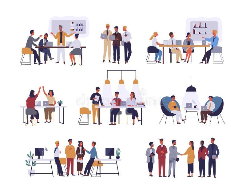 Coleção das cenas no escritório Pacote de homens e de mulheres que participam na reunião de negócios, negociação, sessão de refle ilustração royalty free