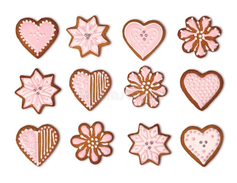 Coleção das cookies do pão-de-espécie isolada ilustração royalty free