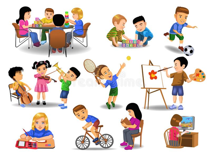 Coleção das crianças que fazem atividades diferentes do tempo da escola e de lazer ilustração do vetor