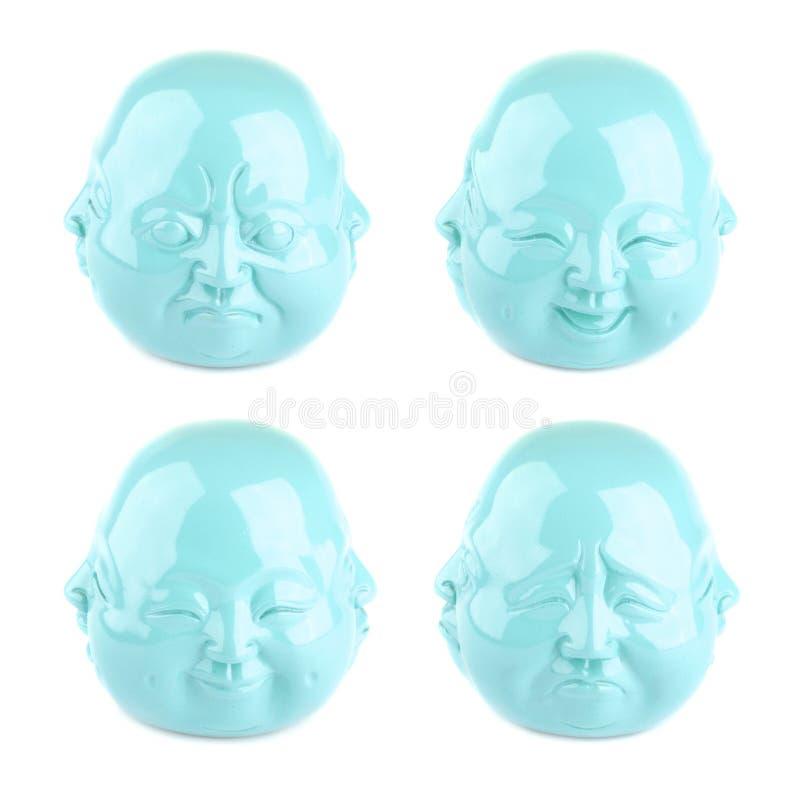 Coleção das emoções Quatro vistas da estatueta da cabeça de turquesa imagens de stock