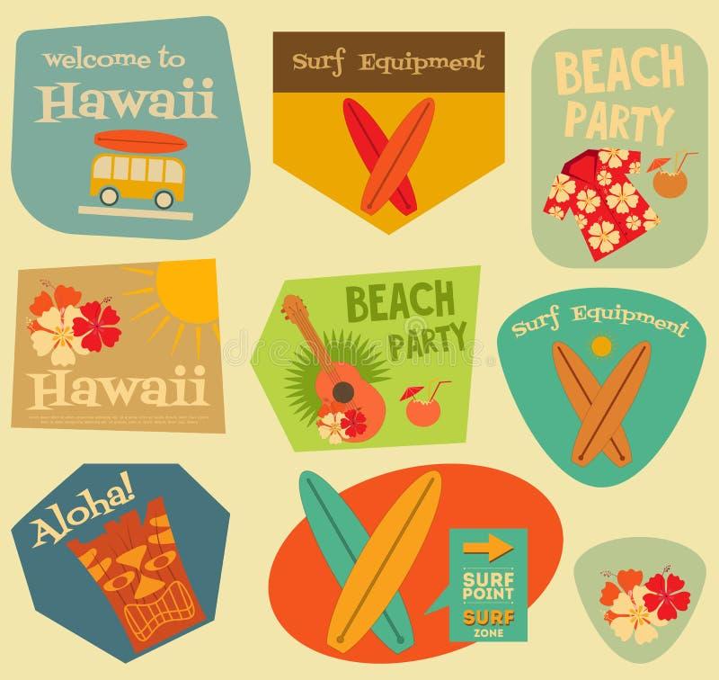 Coleção das etiquetas de Havaí ilustração do vetor