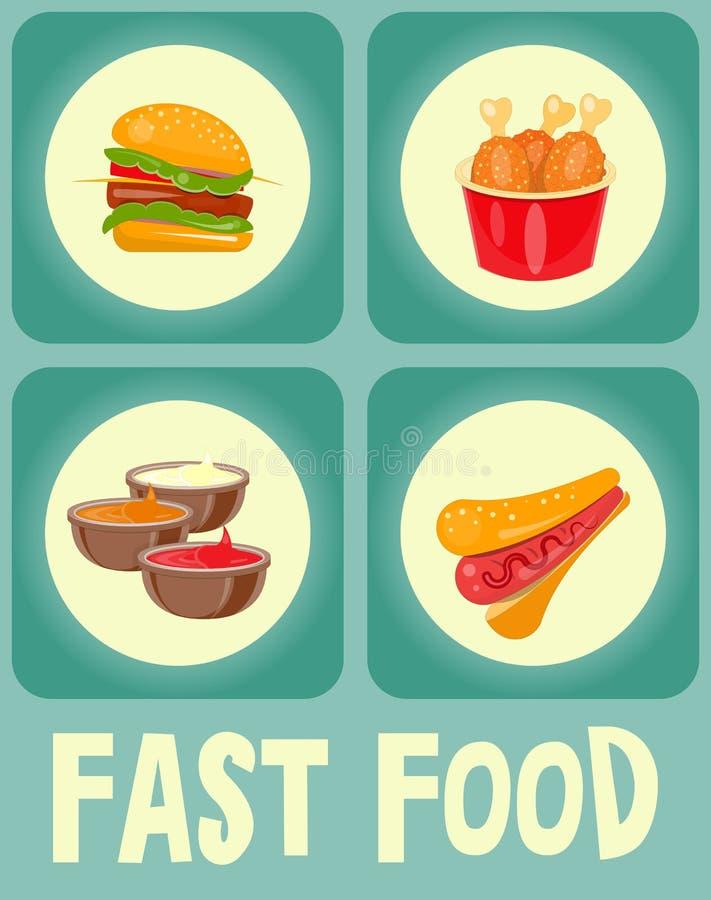 Coleção das etiquetas do alimento ilustração stock