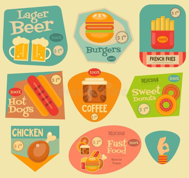 Coleção das etiquetas do fast food ilustração royalty free