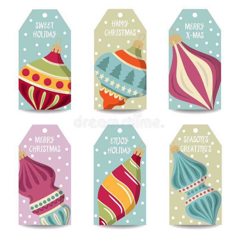 Coleção das etiquetas do Natal com bolas do Natal, artigos isolados ilustração do vetor