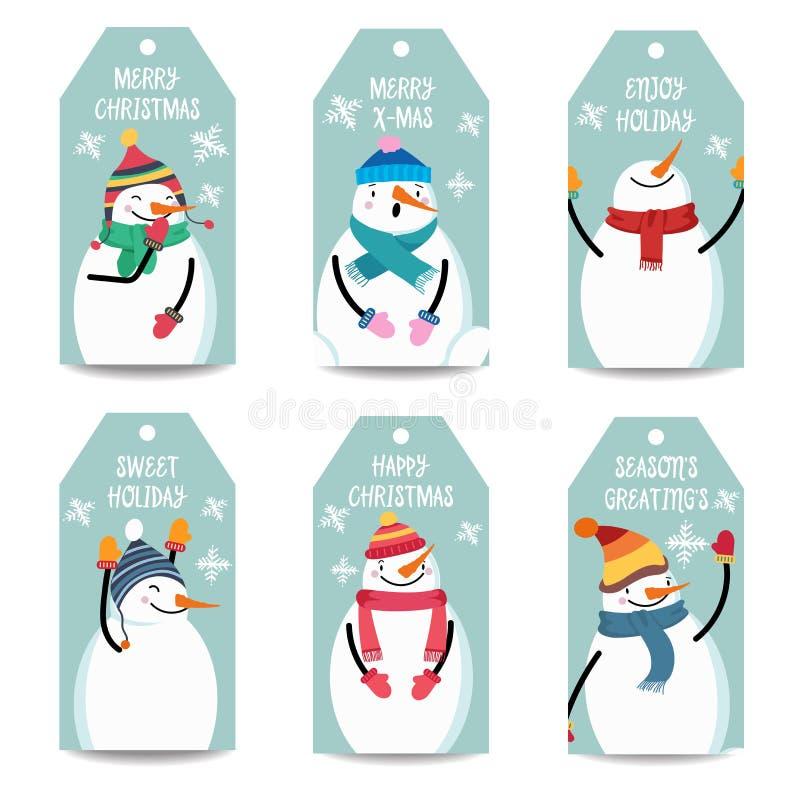 Coleção das etiquetas do Natal com boneco de neve, artigos isolados no whit ilustração stock