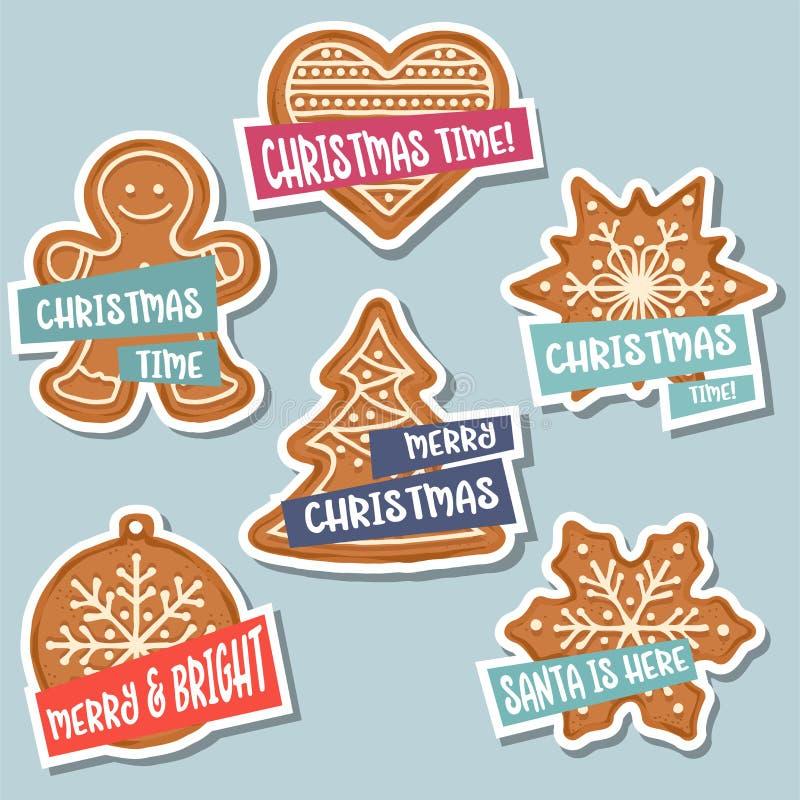 Coleção das etiquetas do Natal com pão-de-espécie do Natal e wis ilustração royalty free