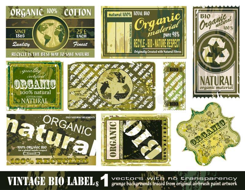 Coleção das etiquetas do vintage BIO - jogo 1 ilustração do vetor