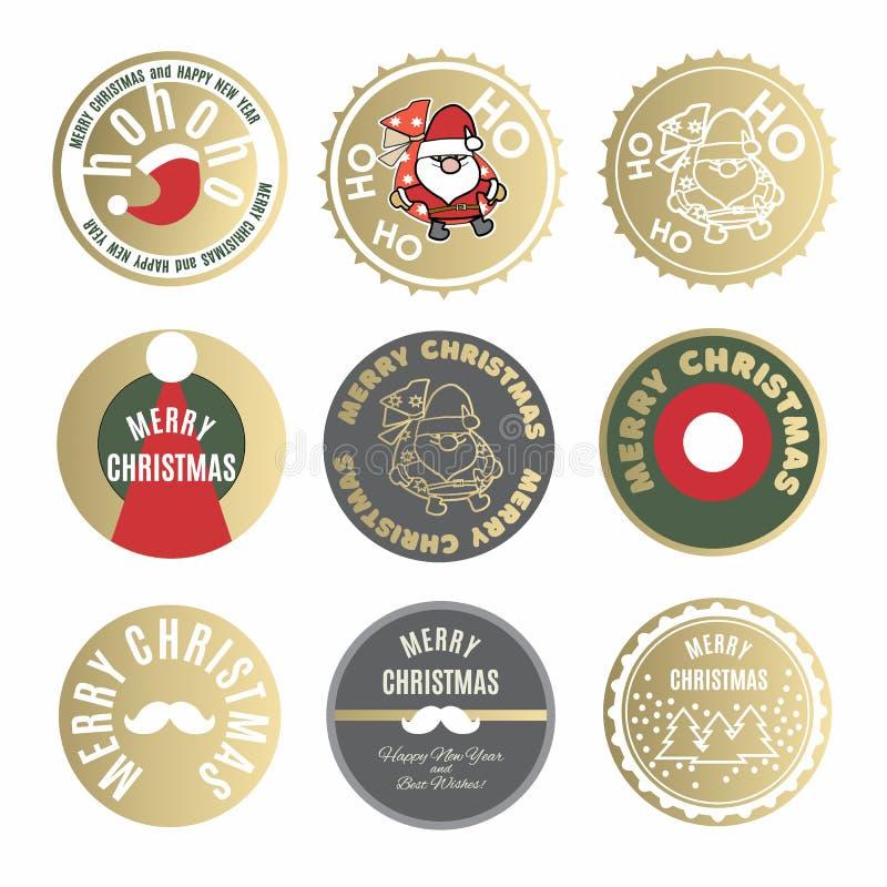 Coleção das etiquetas e das etiquetas do Natal com os desejos de Santa Claus e do ano novo tipográficos ilustração royalty free