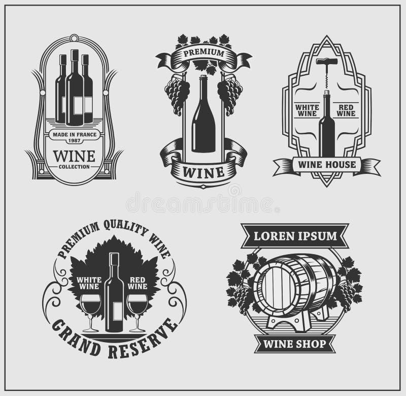Coleção das etiquetas e dos emblemas do vinho Vetor ilustração stock