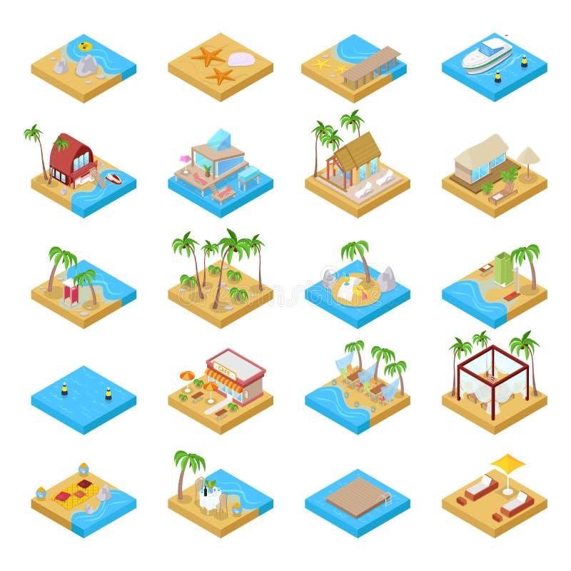 Coleção das férias da praia com bungalow, barco, palmeiras e elementos tropicais Ilustração 3d lisa isométrica ilustração do vetor