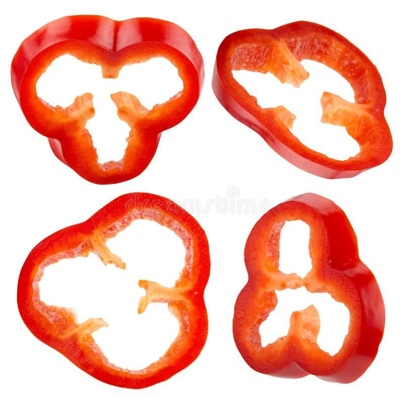 Coleção das fatias da pimenta vermelha isoladas no fundo branco imagens de stock royalty free