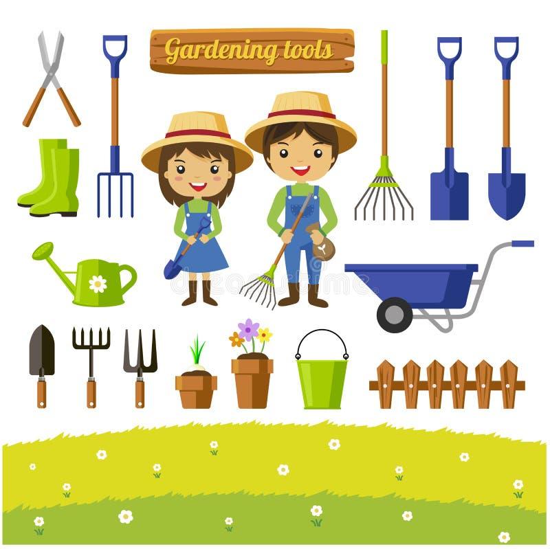 Coleção das ferramentas de jardinagem isolada - ilustração do vetor imagem de stock