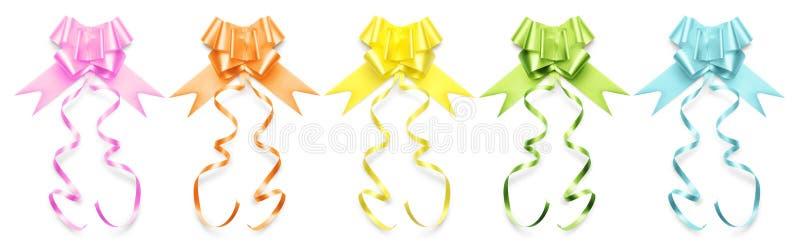 A coleção das fitas curva-se em cores brilhantes no fundo branco fotos de stock royalty free