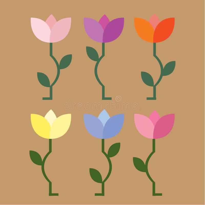 A coleção das flores em cores do outono, projeto do vetor do vetor ilustração do vetor