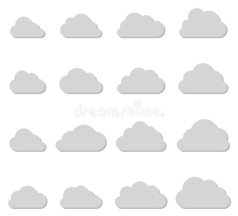 Coleção das formas da nuvem, linhas finas ícones ilustração stock
