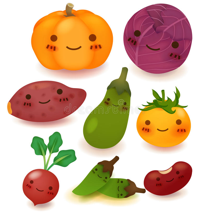 Coleção das frutas e legumes ilustração do vetor