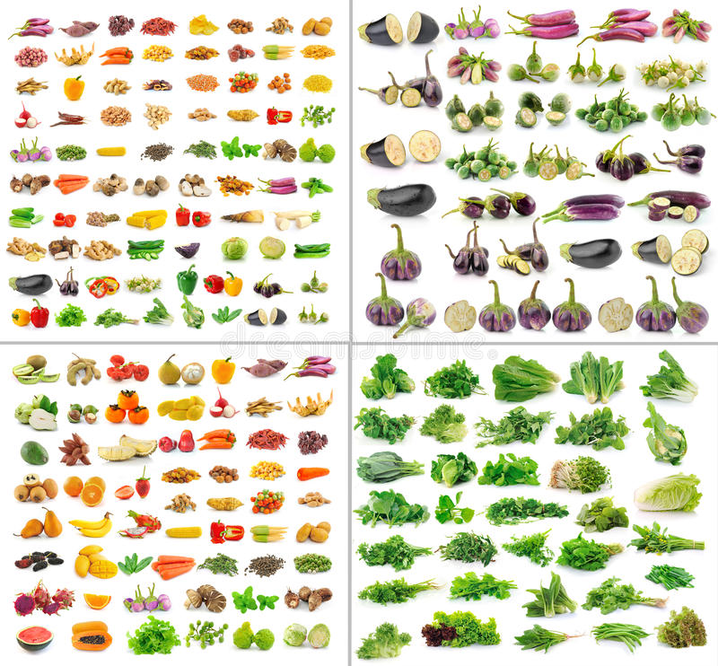 Coleção das frutas e legumes isolada fotos de stock royalty free