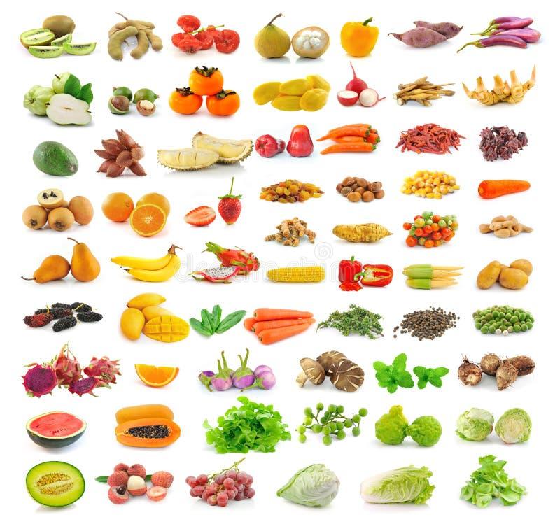 Coleção das frutas e legumes isolada no branco fotografia de stock royalty free