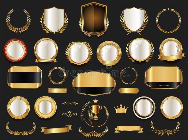 Coleção das grinaldas e dos crachás do ouro e do louro dos protetores de prata ilustração royalty free