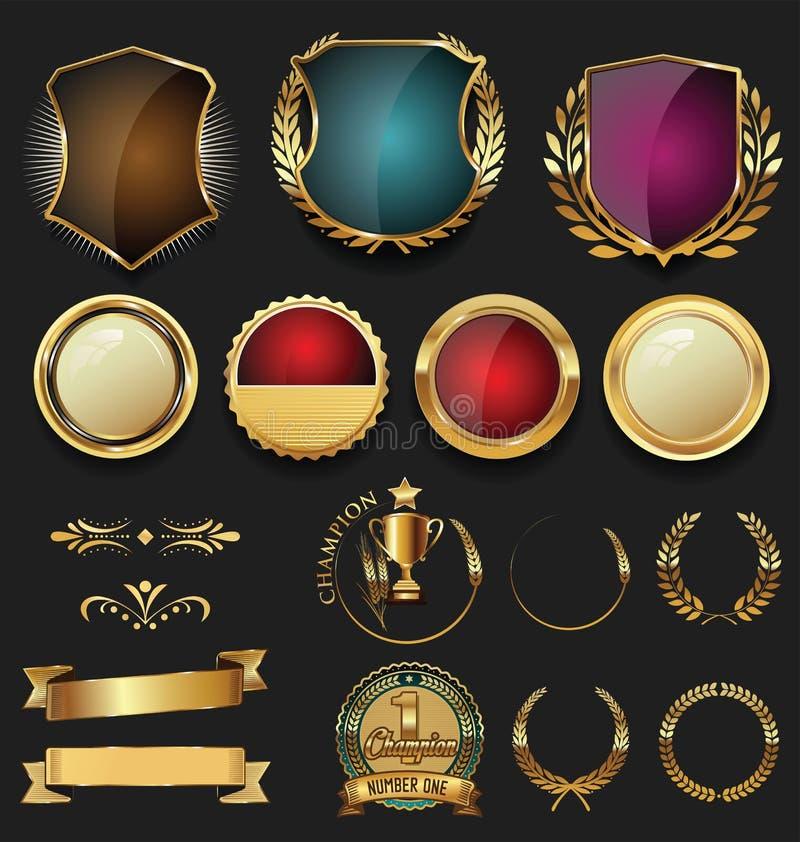 Coleção das grinaldas e dos crachás do ouro e do louro dos protetores de prata ilustração do vetor