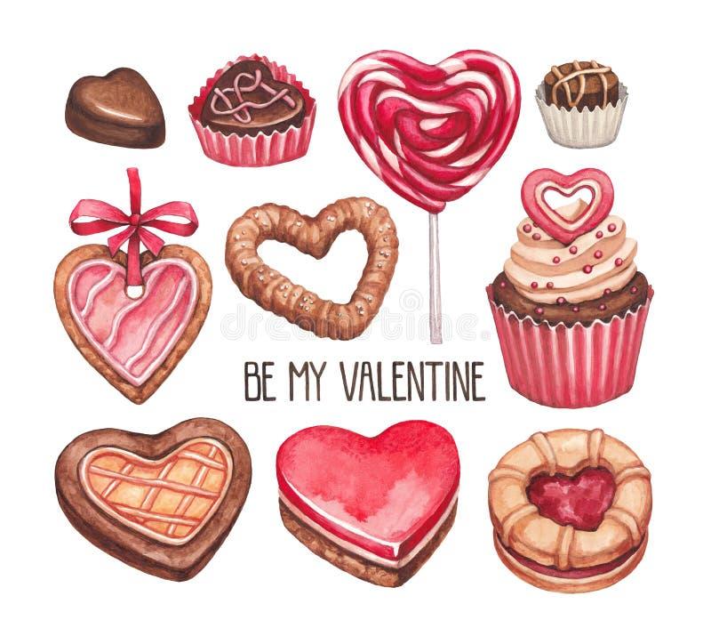 Coleção das ilustrações do dia de Valentim ilustração royalty free