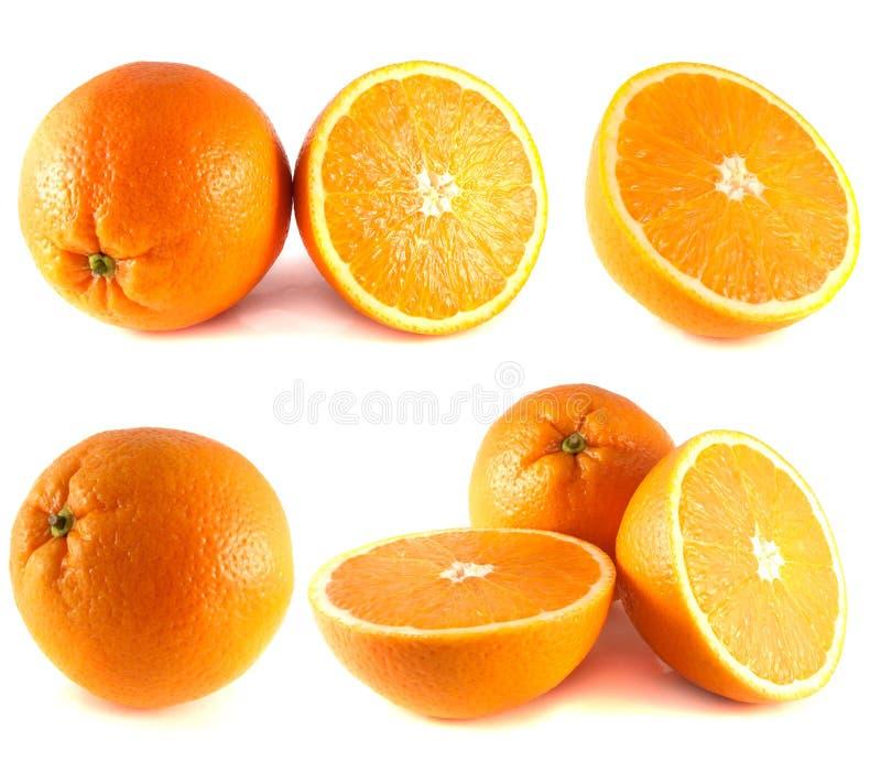 Coleção das laranjas no fundo branco. fotografia de stock