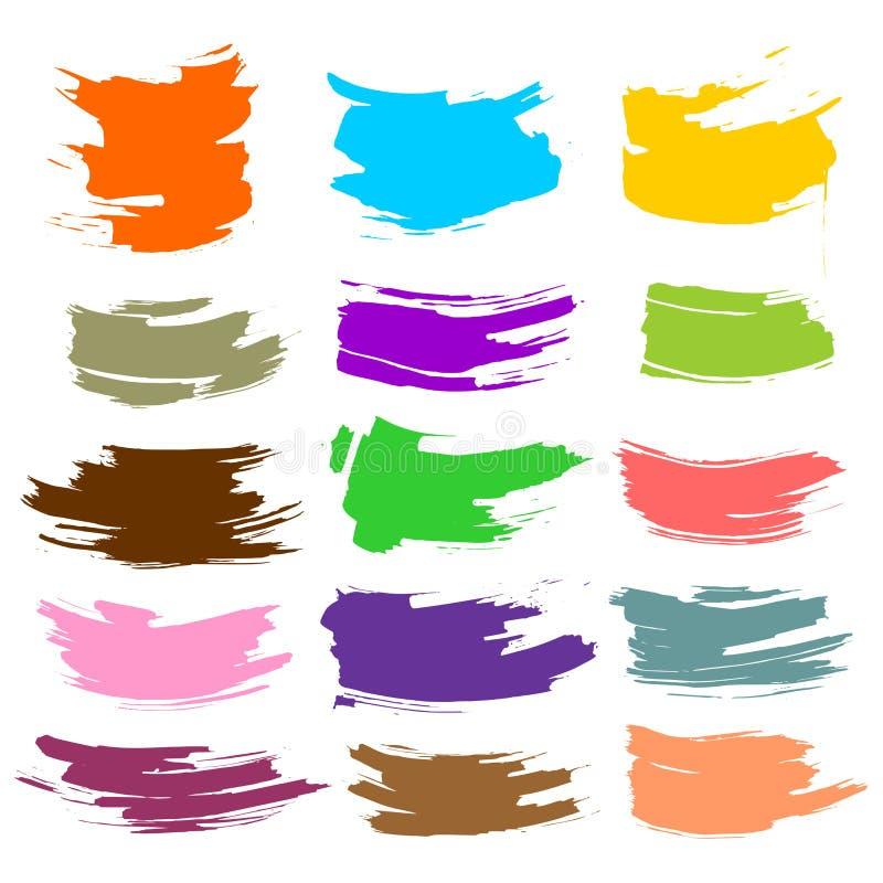 A coleção das manchas com pintura preta, cursos, cursos da escova, mancha e espirra, linhas sujas, texturas ásperas ilustração royalty free