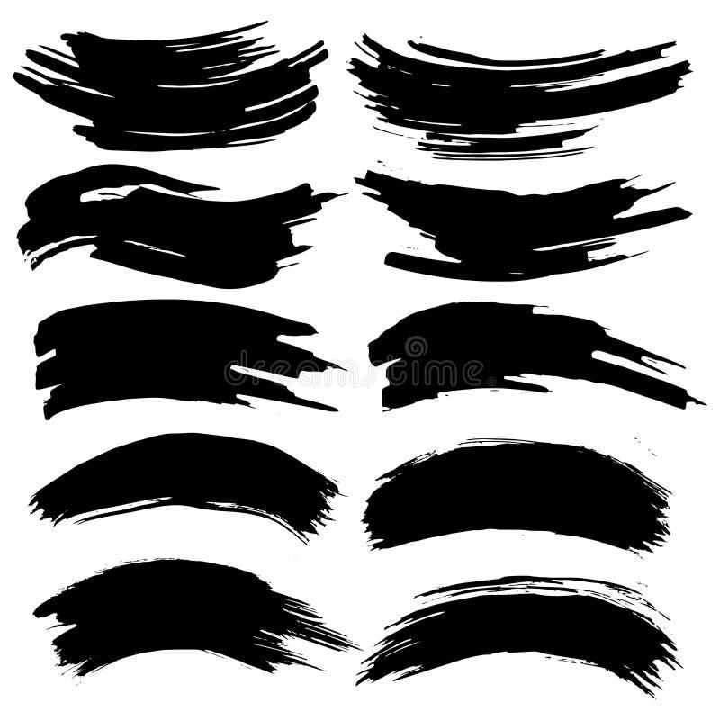 A coleção das manchas com pintura preta, cursos, cursos da escova, mancha e espirra, linhas sujas, texturas ásperas ilustração do vetor