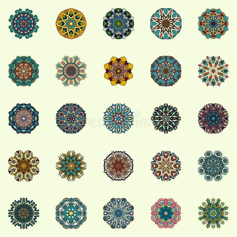 Coleção das mandalas Teste padrão redondo do ornamento Elementos decorativos do vintage Elementos redondos geométricos do ornamen ilustração stock