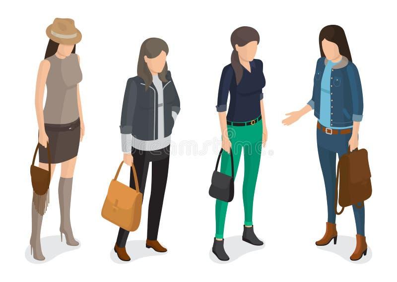 Coleção das mulheres do modelo em Autumn Apparel moderno ilustração royalty free