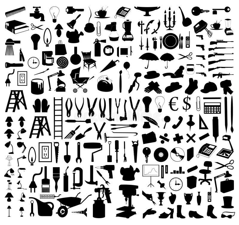 Coleção das silhuetas dos assuntos ilustração do vetor