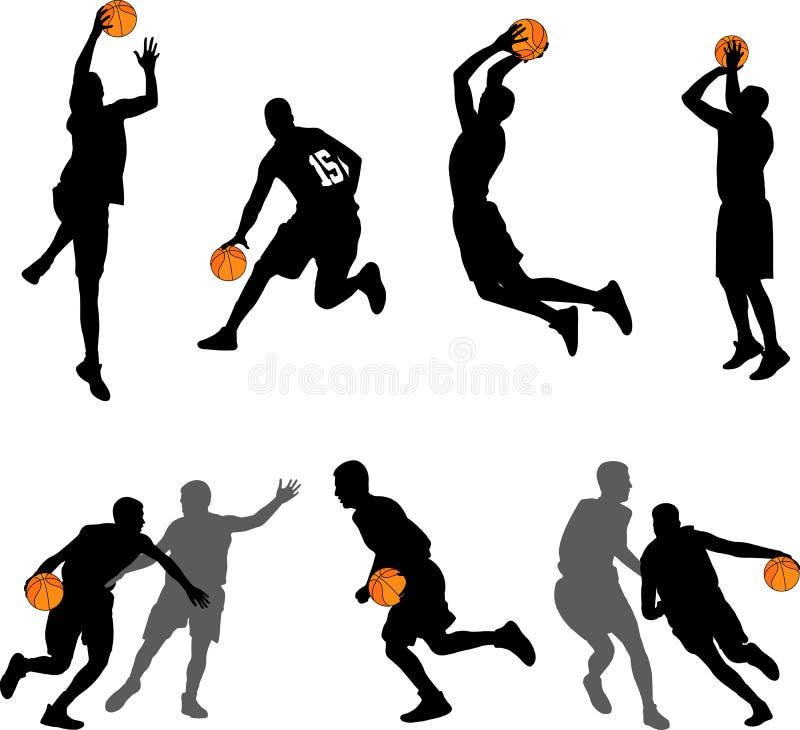 Coleção das silhuetas dos jogadores de basquetebol ilustração stock