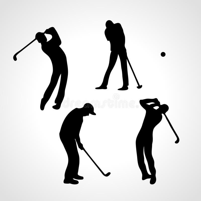 Coleção das silhuetas dos jogadores de golfe 4 jogadores de golfe pretos ilustração do vetor