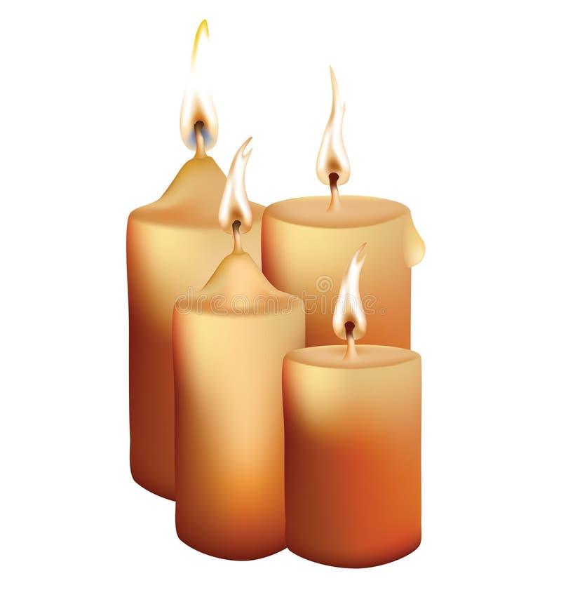 Coleção das velas com forma diferente e chama ilustração do vetor