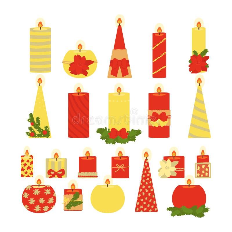 Coleção das velas isoladas no fundo branco Natal Ilustra??o do vetor ilustração stock