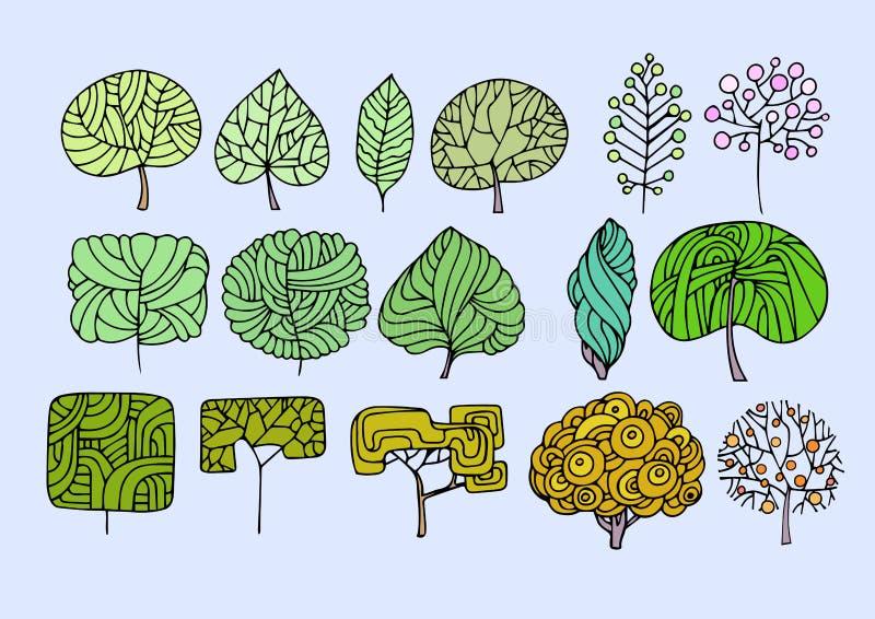 Coleção de árvores decorativas, isolado no fundo azul A ilustração royalty free
