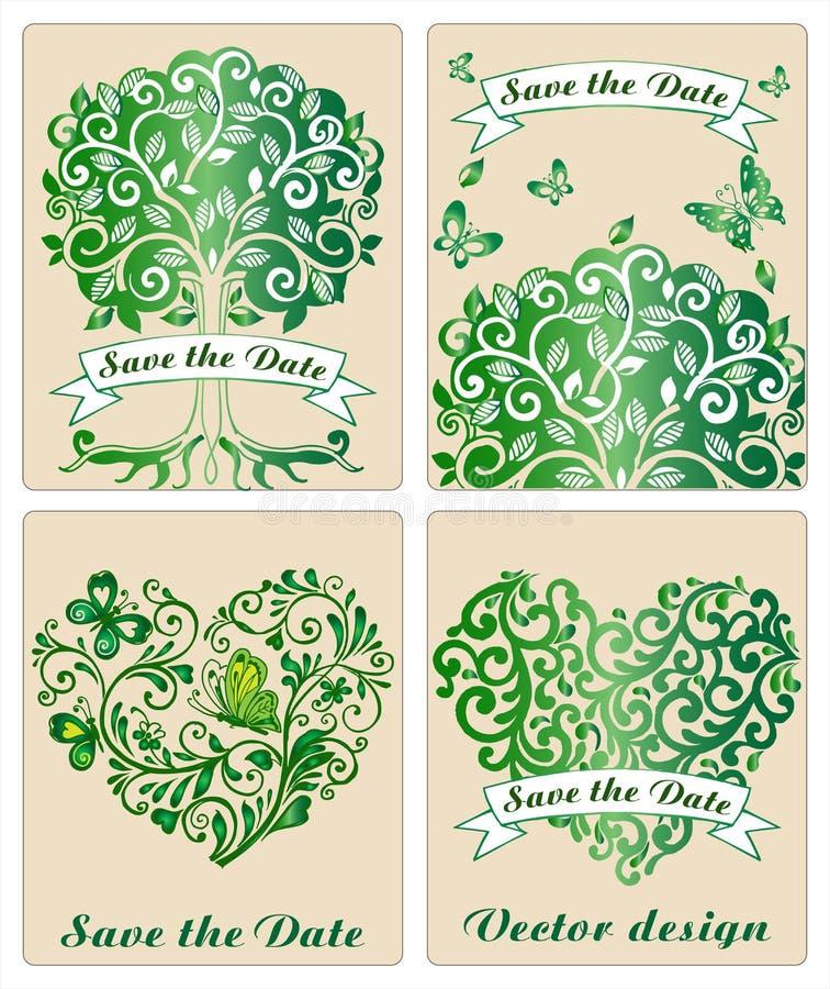 Coleção de árvores e de corações decorativos ilustração do vetor