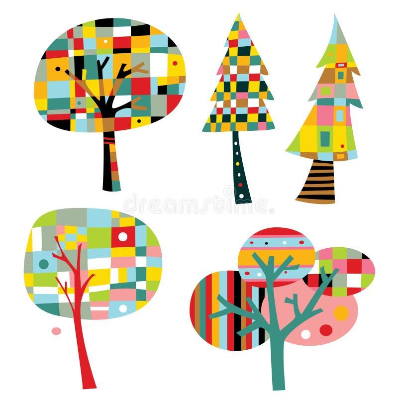 Coleção de árvores geométricas ilustração do vetor