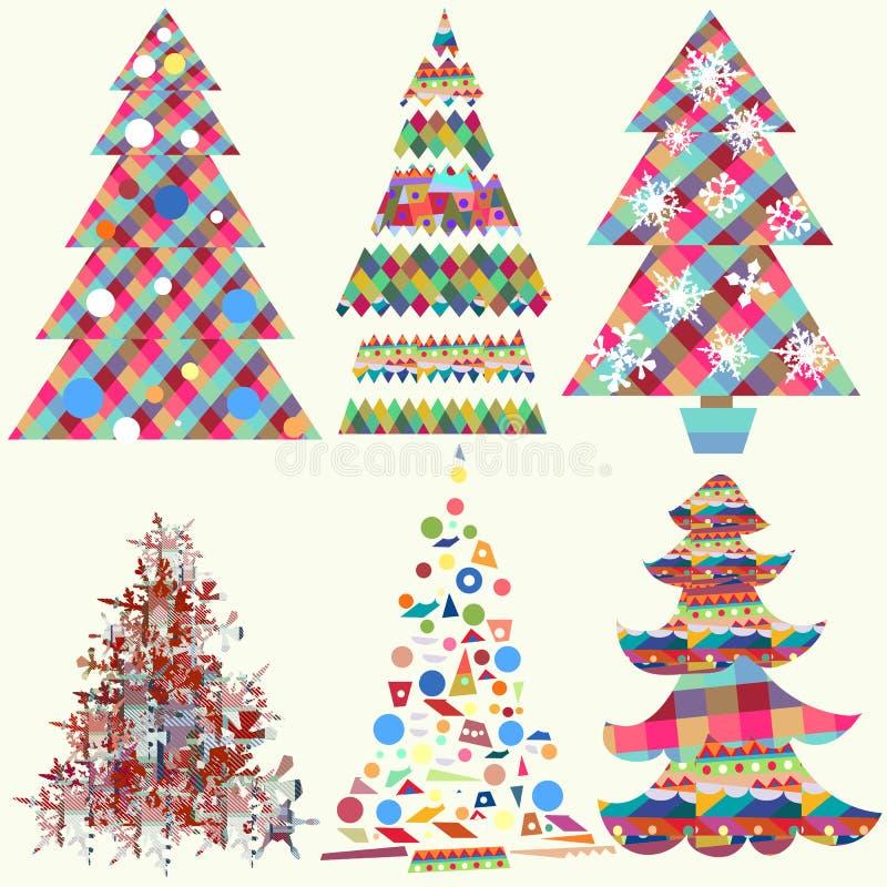 Coleção de árvores de Natal funky do vetor ilustração stock