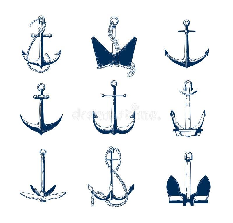 A coleção de âncoras náuticas de vários tipos entrega tirado com linhas de contorno da marinha no fundo branco monocromático ilustração royalty free