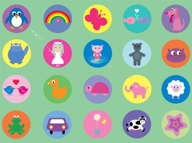 Coleção de ícones bonitos para miúdos ilustração royalty free